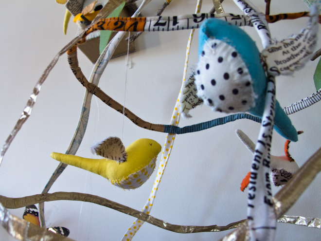 Soft toy birds at the Apples & Jam Playhouse, South Melbourne Commons