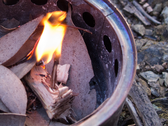 Bush buddy stove burning tinder