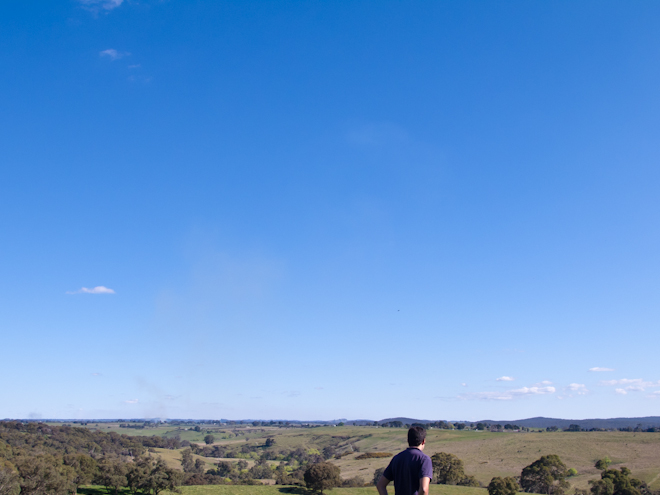 Long expanse of sky on a hilltop in Taradale, Victoria