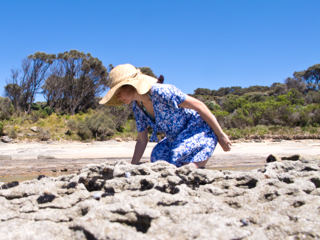 Searching rock pools at the Grey River Beach, the Otways