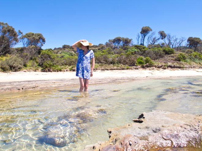 Flowery romper and sun hat at the Grey River Beach, the Otways