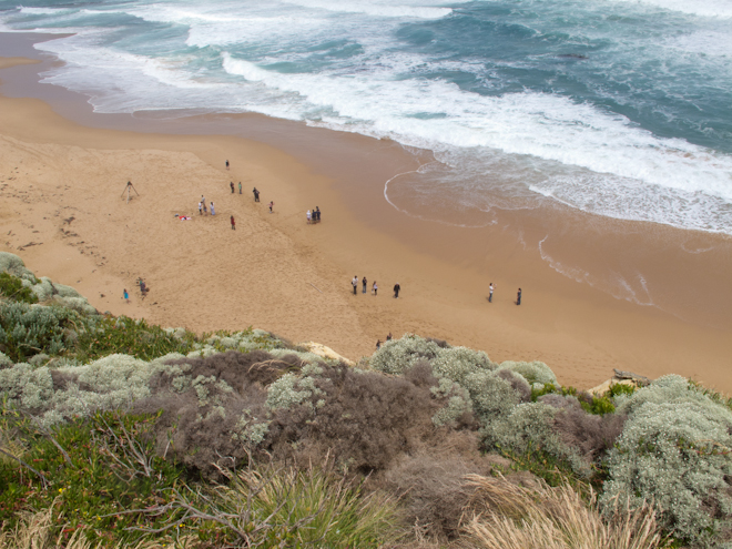 Tourists on the beach near the Twelve Apostles, Port Campbell National Park
