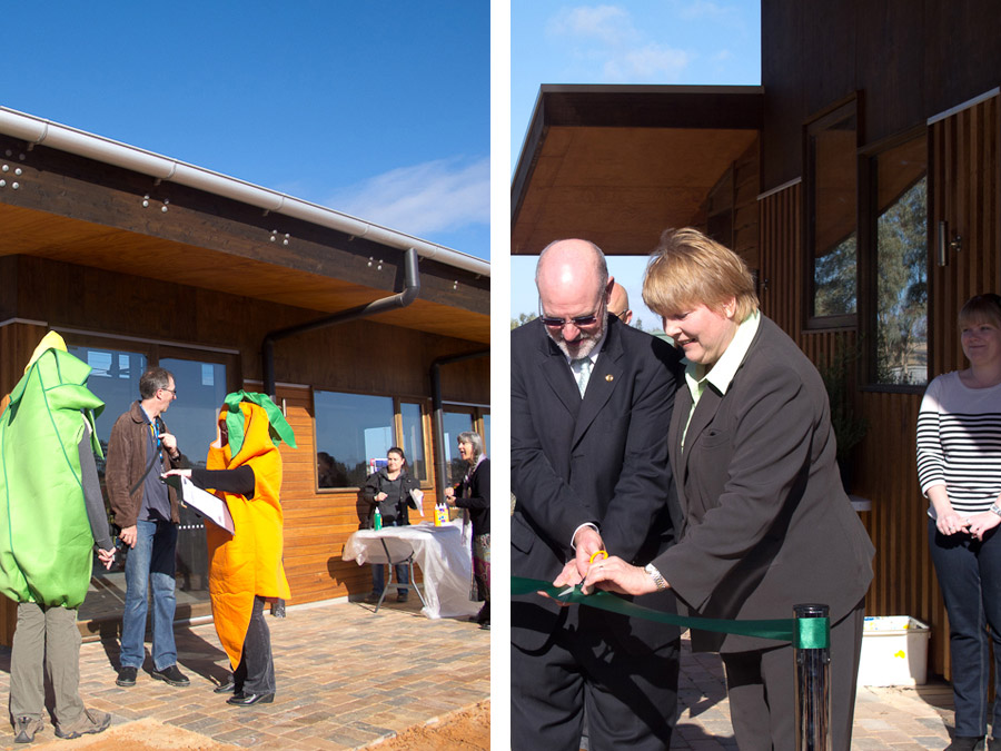 mildura-foodswap-costume-vegetables-ribbon-cutting