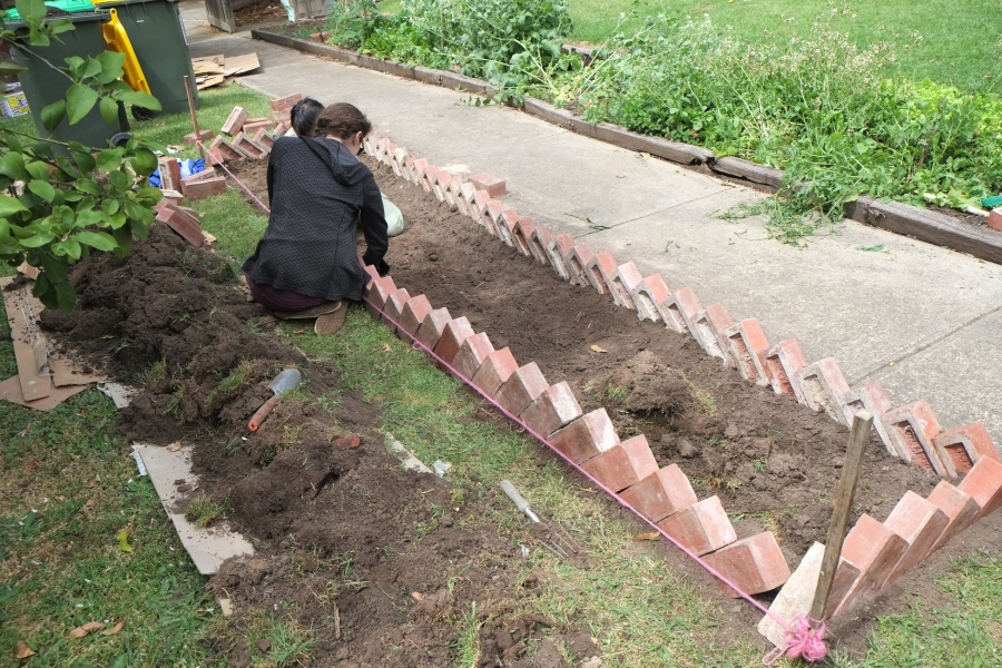 Landscape edging using bricks : Community with a patch of lawn that dreamed being something more